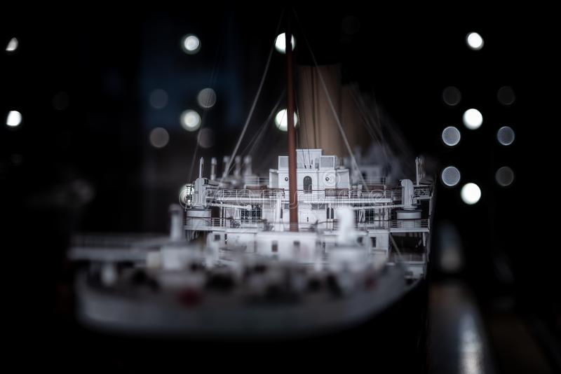BELFAST, NORTHERN IRELAND, DECEMBER 19, 2018: Close up view of the model of Titanic in the Belfast City Hall with beautiful bokeh royalty free stock image