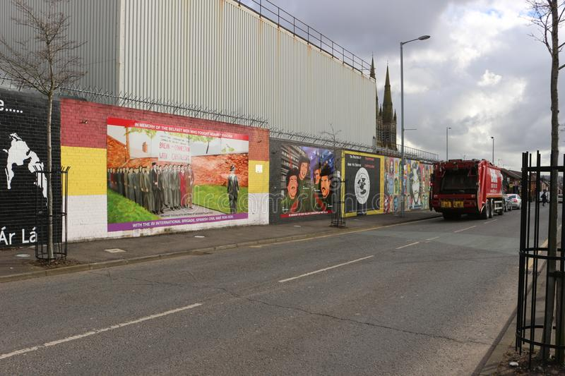 BELFAST, NORTHERN IRELAND - February 22 2018: Political mural in Belfast, Northern Ireland. Falls Road is famous for its political royalty free stock image
