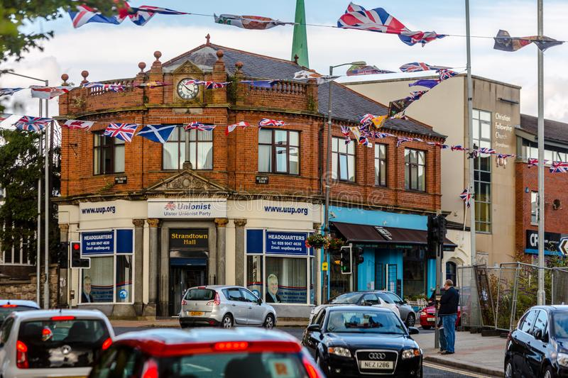 Ulster Party Headquarters in Belfast. BELFAST, NORTHERN IRELAND - JULY 30: Unionist Ulster Party Headquarters in a heavily loyalist Belfast neighborhood stock images