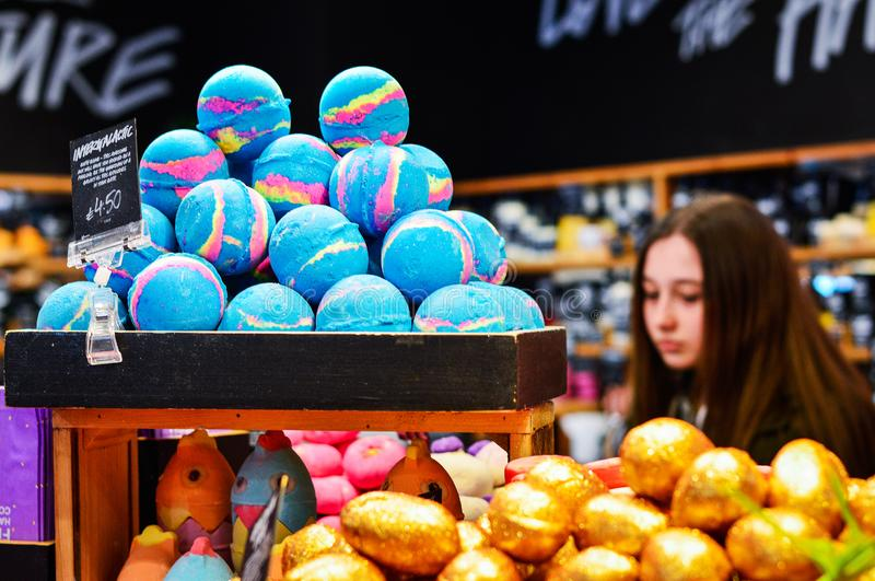 Colorful Handmade Bath Products from Lush Cosmetics Store. Belfast, Northern Ireland, March 2018. Colorful Handmade Bath Products from Lush Cosmetics Store stock photos