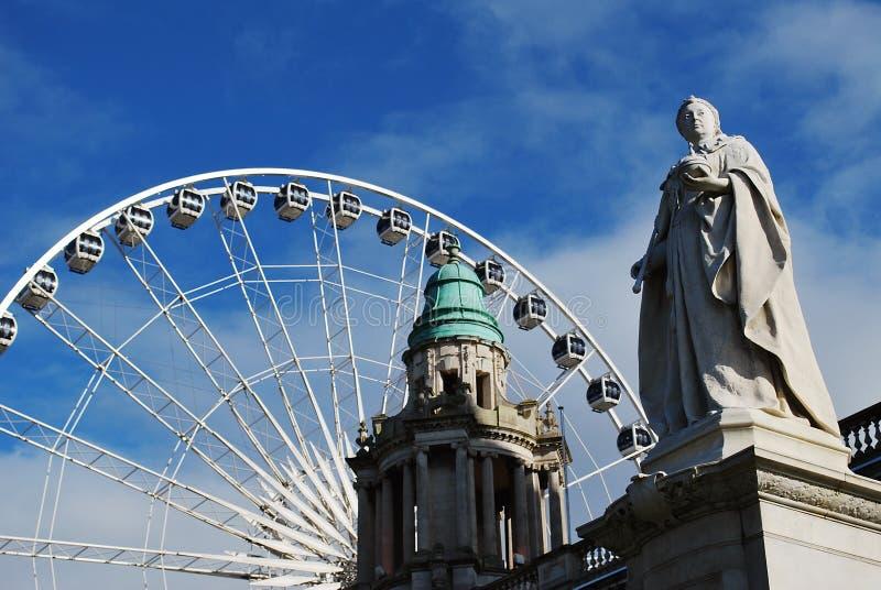 Belfast Wheel and City Hall. Belfast Wheel, Belfast City Hall, Northern Ireland royalty free stock photography