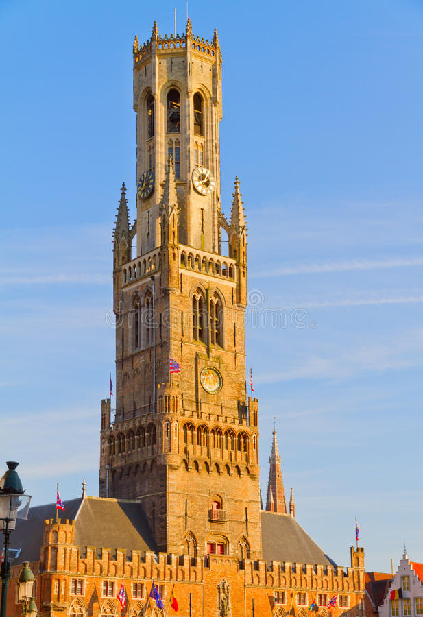 Belfort. A medieval belfry tower in Bruges, Belgium stock photography