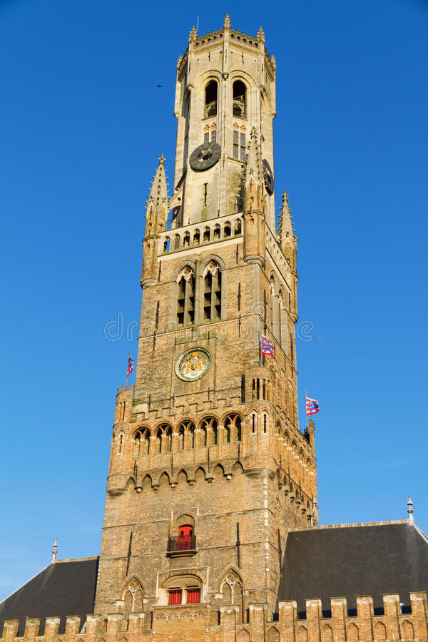 Belfort. A medieval belfry tower in Bruges, Belgium stock photos