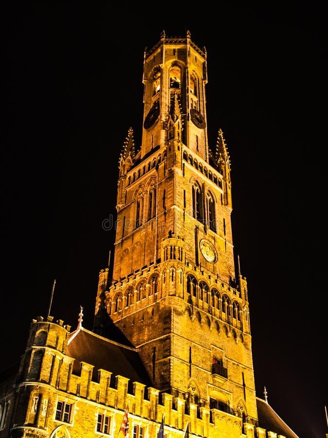 Belfort, or Belfry Tower, at Grote Markt square in Bruges, Belgium stock photo