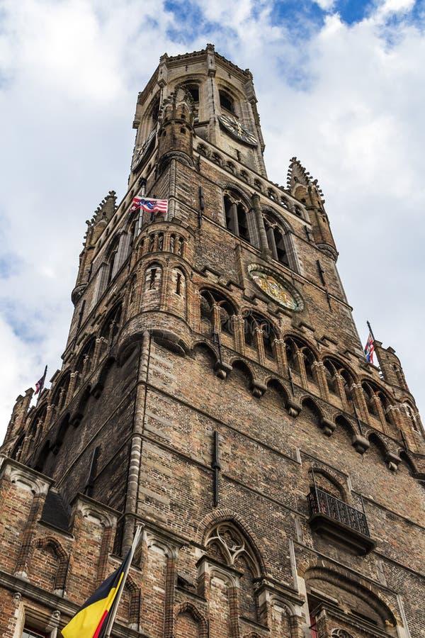 Belfort i gammal mitt av Brugge, Flanders, Belgien arkivbild