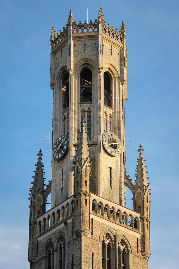 Belfort. Market square. Bruges. Belgium. Belfort. close up of the medieval Belfry in grote Markt, Market square. Bruges. Belgium royalty free stock image