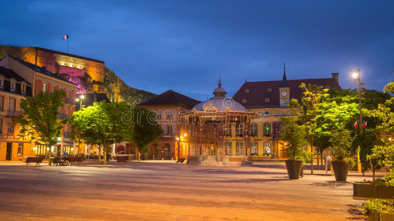 Belfort, France. Belfort Market Square at Night, France stock image