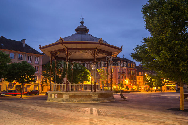 Belfort, France. Belfort Market Square at Night, France royalty free stock photos