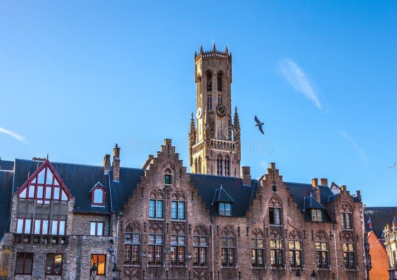 Belfort torn i Bruges, touristic mitt i den Flanders staden av Brugge och UNESCOvärldsarv arkivfoto
