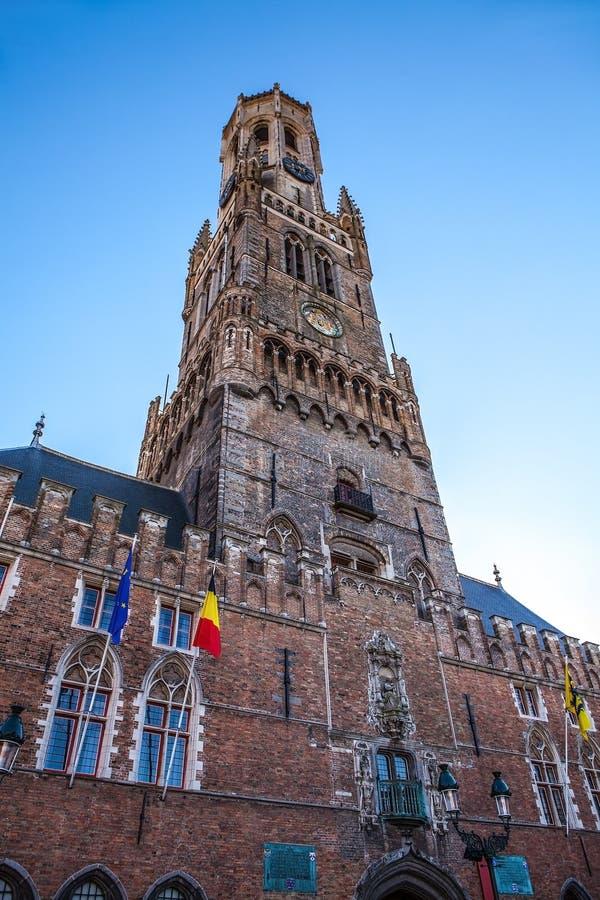 Belfort torn i Bruges, touristic mitt i den Flanders staden av Brugge och UNESCOvärldsarv royaltyfria bilder