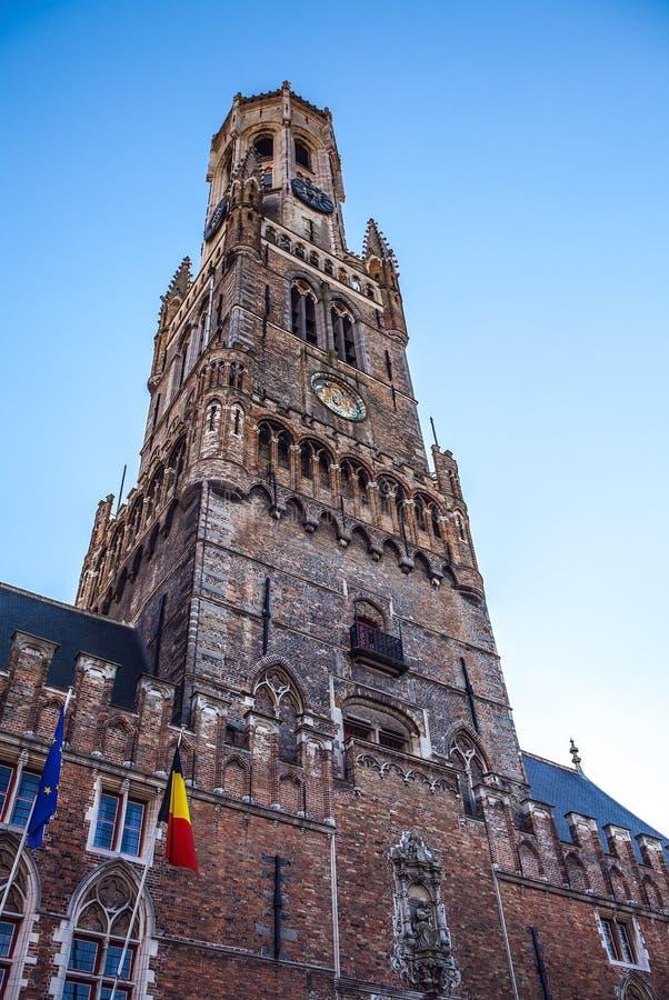 Belfort torn i Bruges, touristic mitt i den Flanders staden av Brugge och UNESCOvärldsarv arkivbild