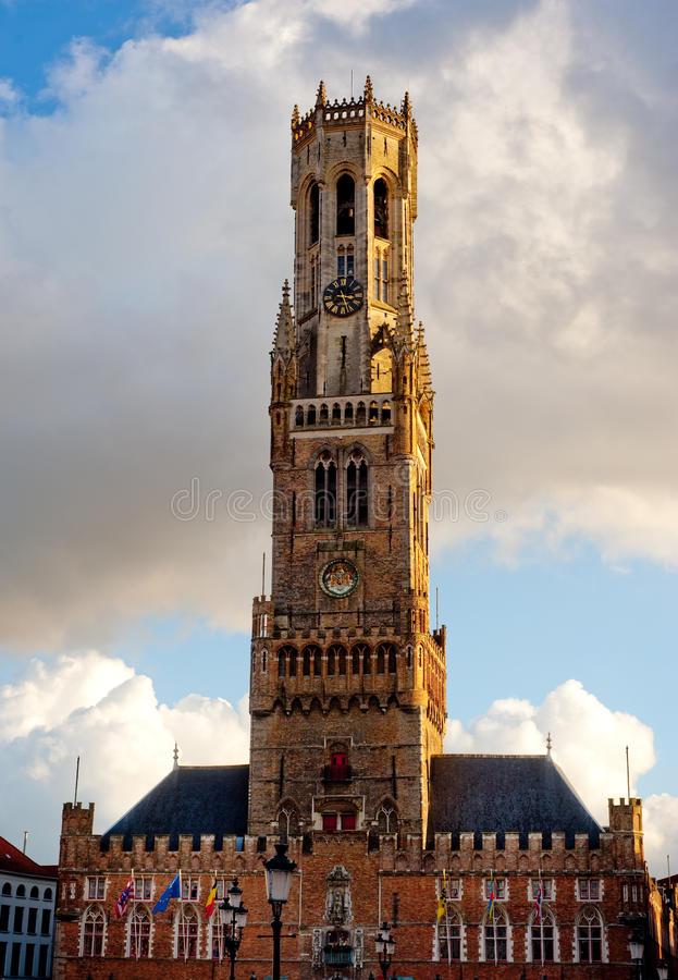Belfort tower in Brugge, Belgium. Belfort tower, most famous landmark of Brugge, Belgium royalty free stock photography