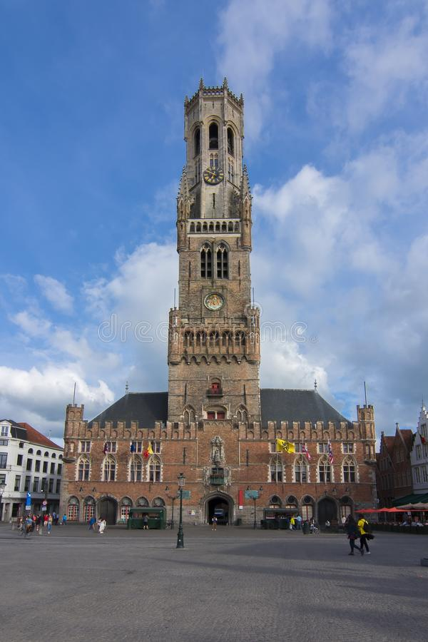 Belfort tower on market square in center of Bruges, Belgium stock photos