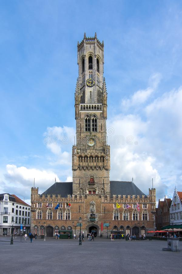 Belfort tower on market square in center of Bruges, Belgium stock image