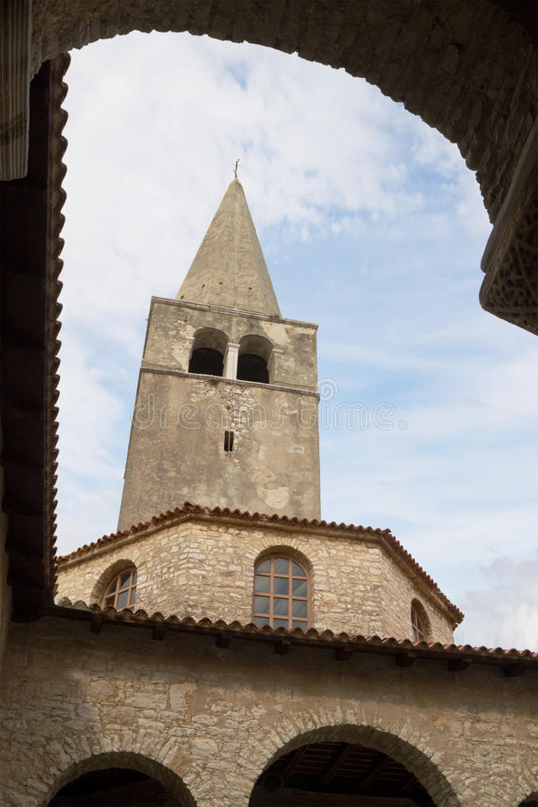 The belfry and the baptistery in the Euphrasian Basilica in Porec royalty free stock image