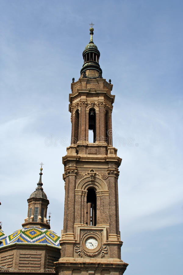 Belfry of the Basilica del Pilar. Detail of the belfry of the Basilica del Pilar in Saragossa, Spain stock photos