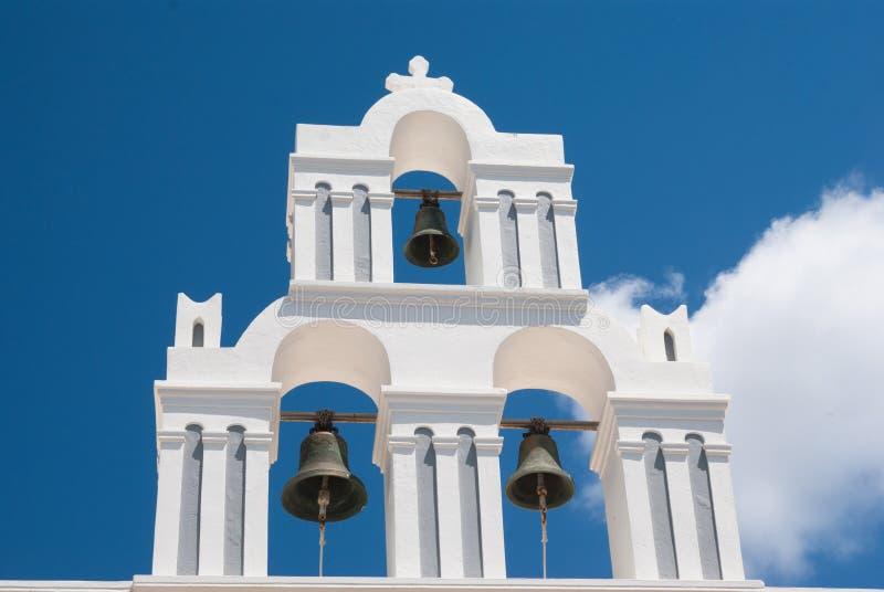 Belfry at blue sky on Santorini island. Greece royalty free stock photo