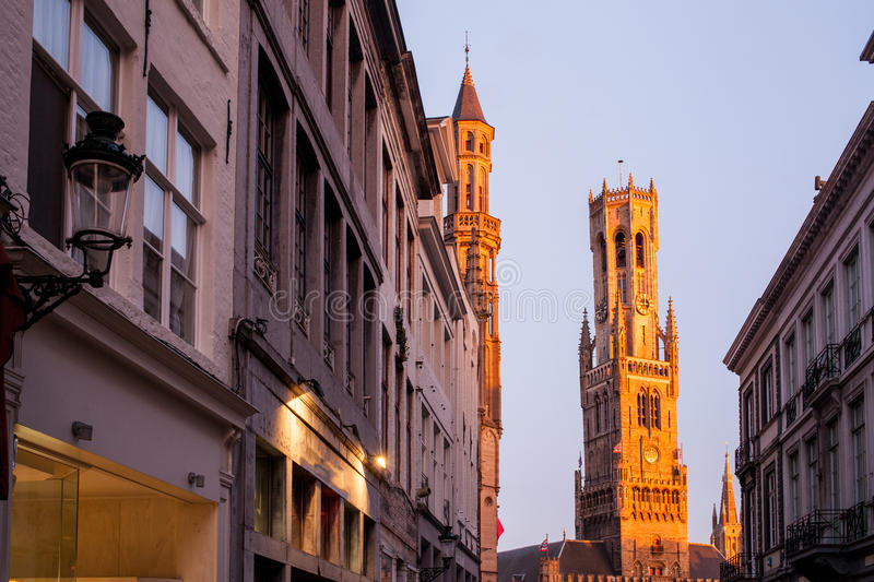 The belfry of Bruges stock photos