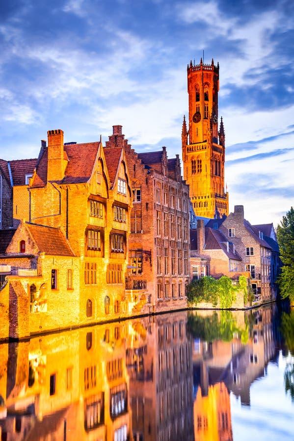 Belfry, Bruges, Belgium stock photos