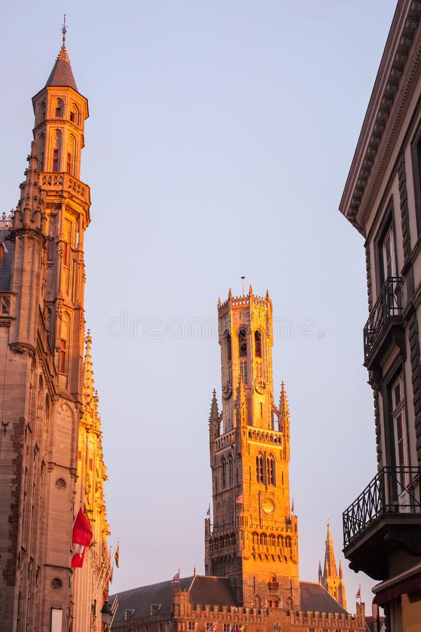 Belfry of Bruges at evening. stock photo