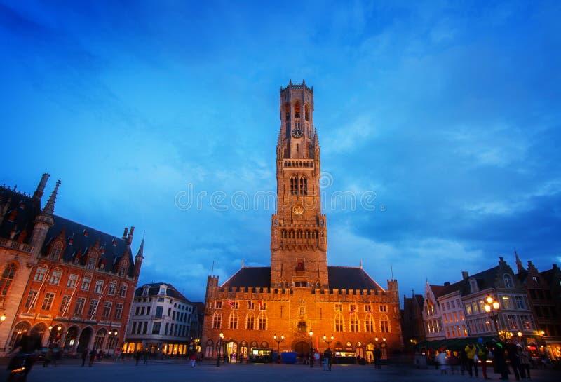 Belfry of Bruges at Grote Markt, Belgium stock photo