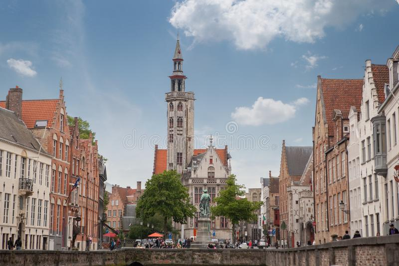 The belfry of Bruges is a medieval bell tower stock photos