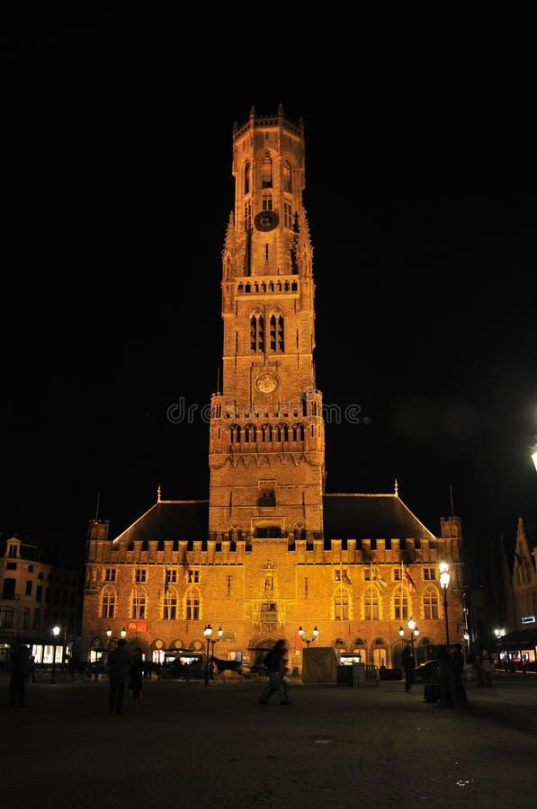 Download Belfry of Bruges at night stock image. Image of conservation - 18509907