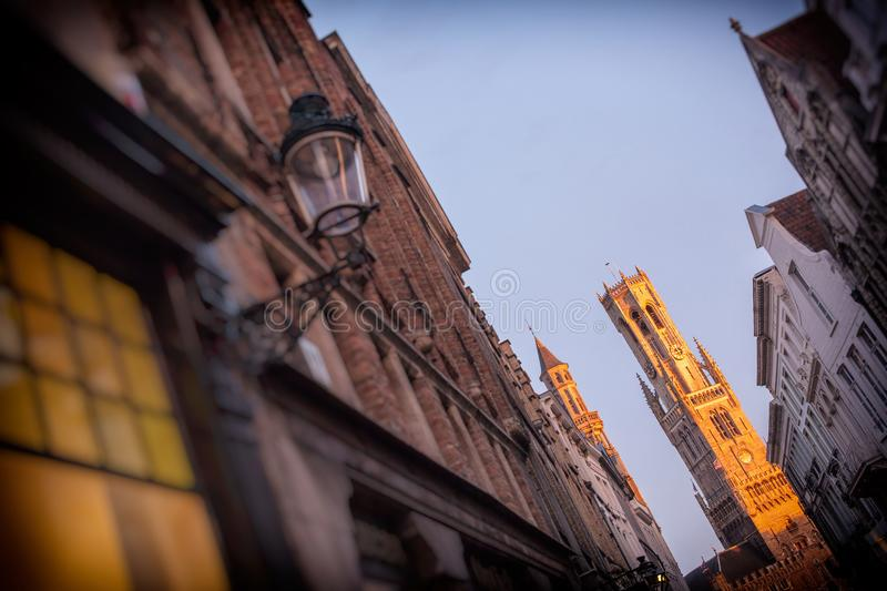 The belfry of Bruges at the night royalty free stock photography