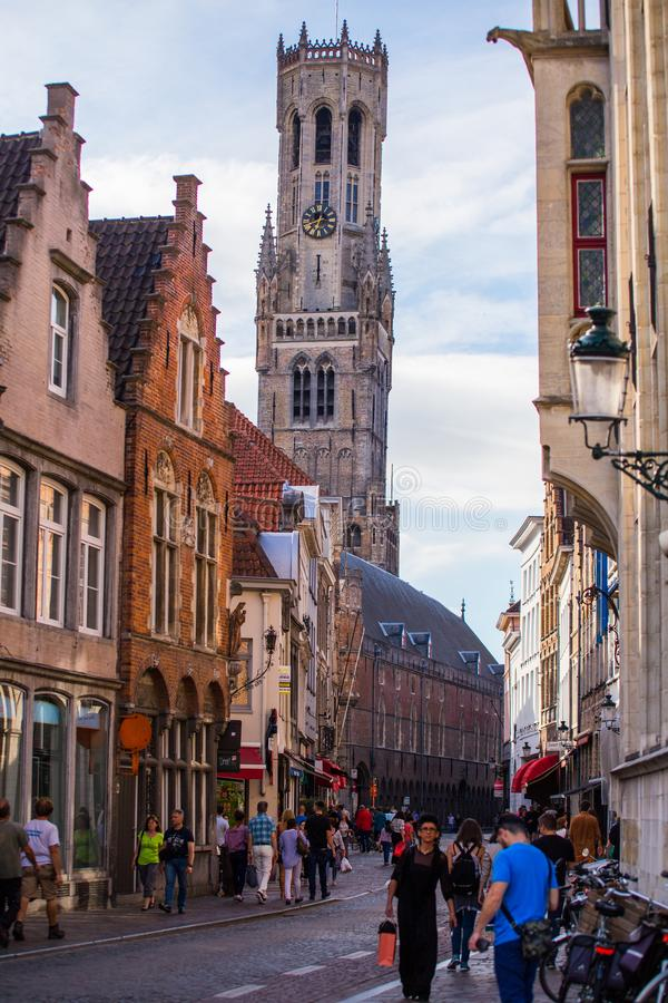 Belfry of Bruges tower in evening royalty free stock images