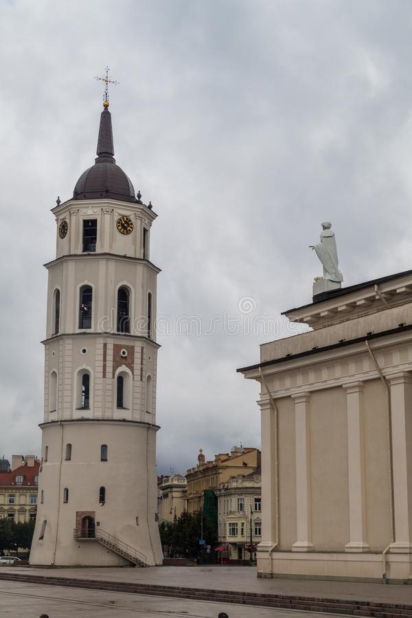 Belfry of Cathedral Basilica Of St. Stanislaus And St. Vladislav On Cathedral Square in Vilnius, Lithuani stock photos