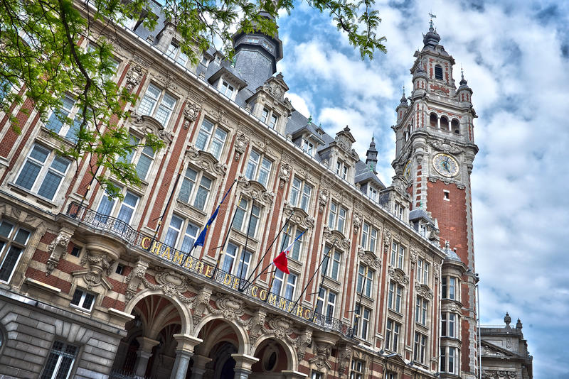 The belfry of the Chamber of Commerce - Lille. North of France stock images