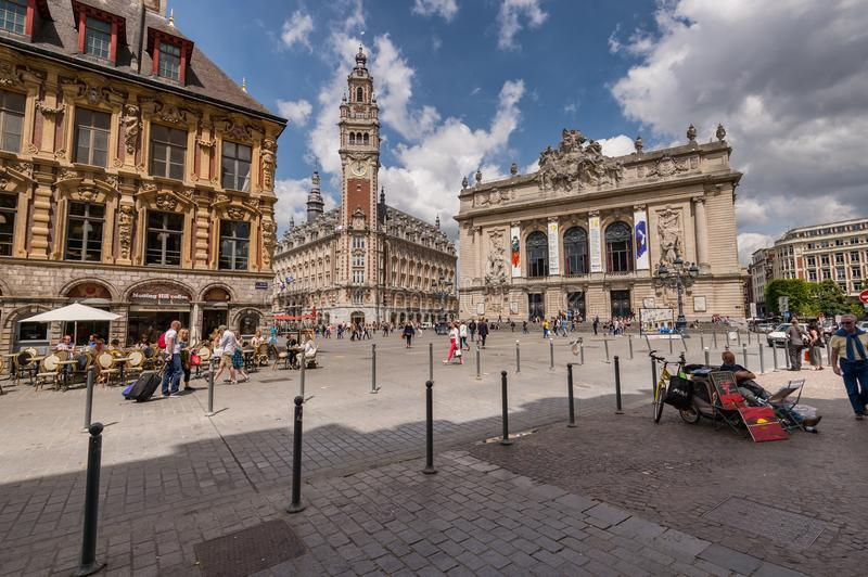 Belfry of the Chambre de Commerce and Opera House in Lille, FR. stock image