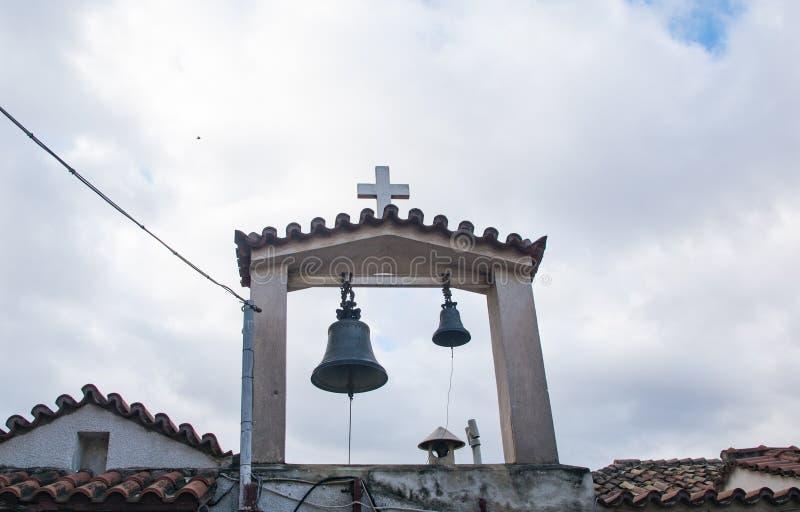 Belfry der kleinen Kirche in Plaka-Bezirk athen lizenzfreies stockbild