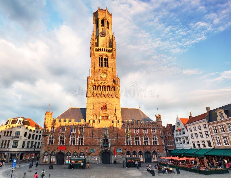 Belfry - Grote Markt square in Bruges, Belgium royalty free stock photo