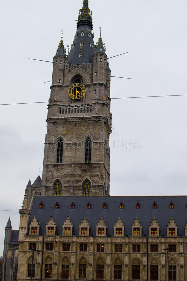 Belfry Het Belfort of Ghent, Belgium, Europe. Medieval 91-meters bell tower in the old town of Ghent.  stock photos