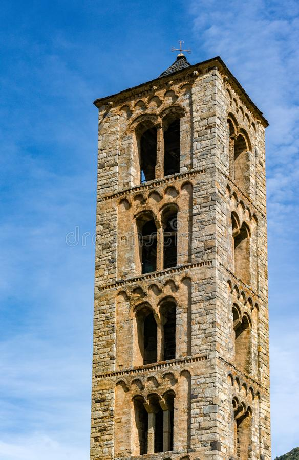 Belfry of Sant Climent de Taull, Catalonia, Spain. Romanesque style. Belfry and church of Sant Climent de Taull, Catalonia, Spain. Catalan Romanesque Churches of royalty free stock photo
