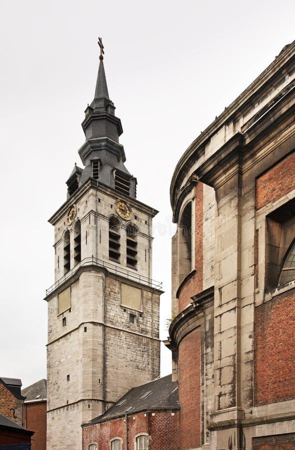 Belfry of St Aubin's Cathedral in Namur. Belgium.  stock photo