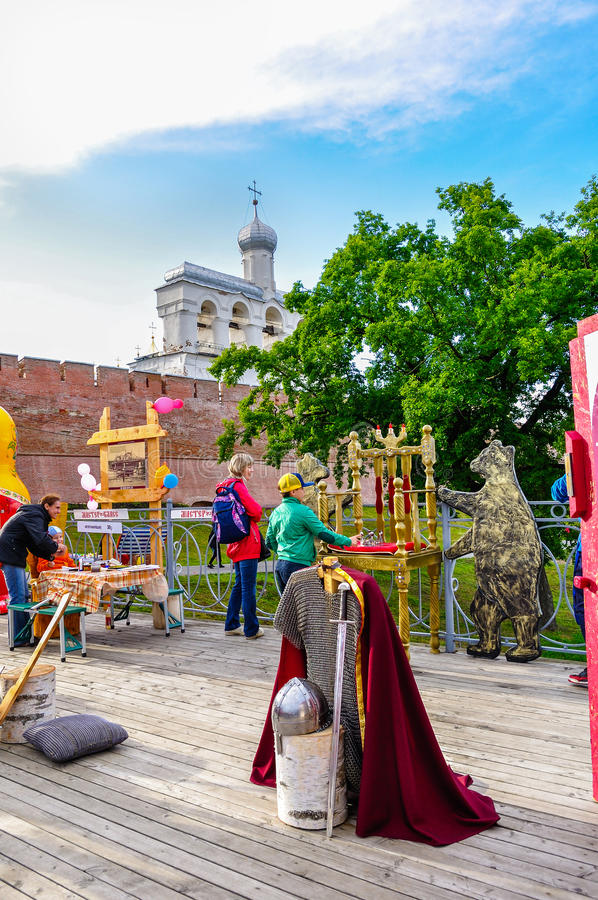 Belfry of St Sophia cathedral with tourist attraction objects and souvenir trade in Veliky Novgorod, Russia stock photos