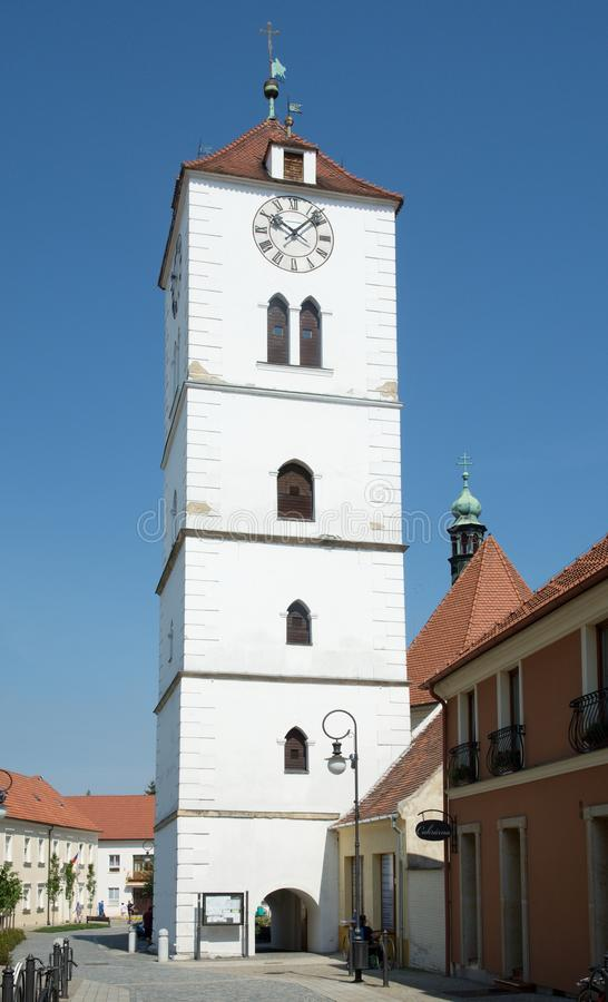 Belfry in the Straznice, Czech Republic. Belfry in the historic center town Straznice,eastern Moravia, Czech Republic, Europe royalty free stock photo