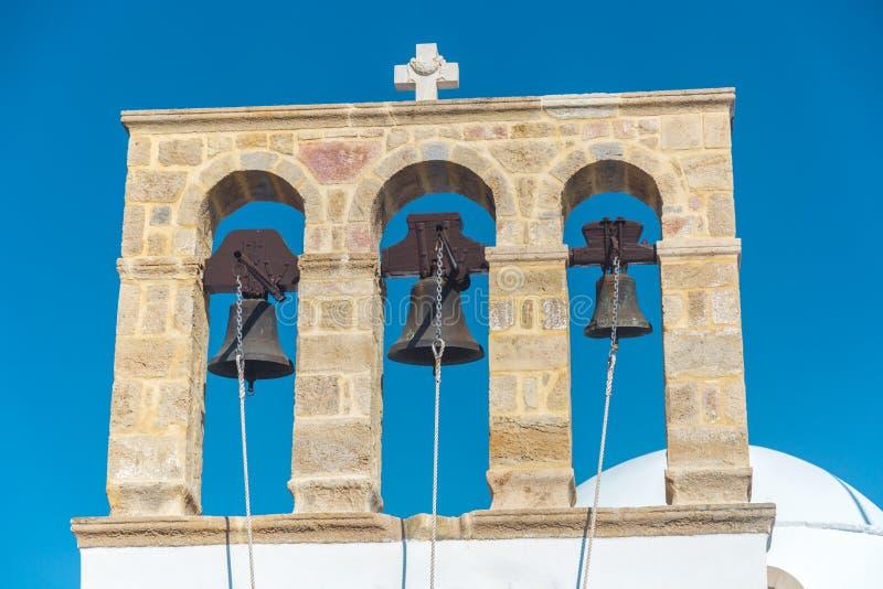 Belfry in Mykonos - Greece. Belfry with tree bells in Mykonos - Greece stock photography