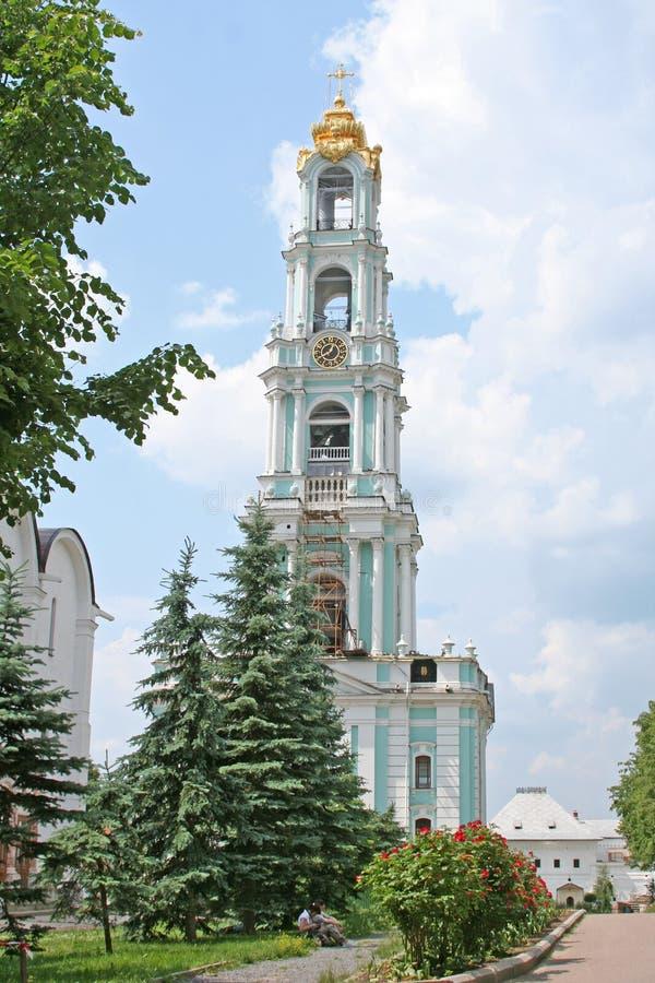 Belfry at the Trinity-Sergius Lavra. Sergiev Posad, Russia. stock image