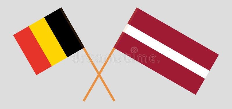 België en Letland De Belgische en Letse vlaggen Officiële kleuren Correct aandeel Vector stock illustratie