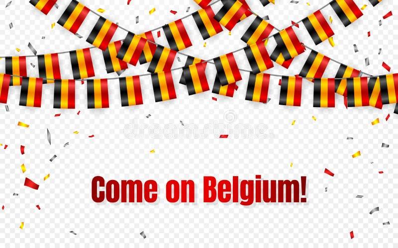 België markeert slinger op transparante achtergrond met confettien Hang bunting voor de banner van het de vieringsmalplaatje van  vector illustratie