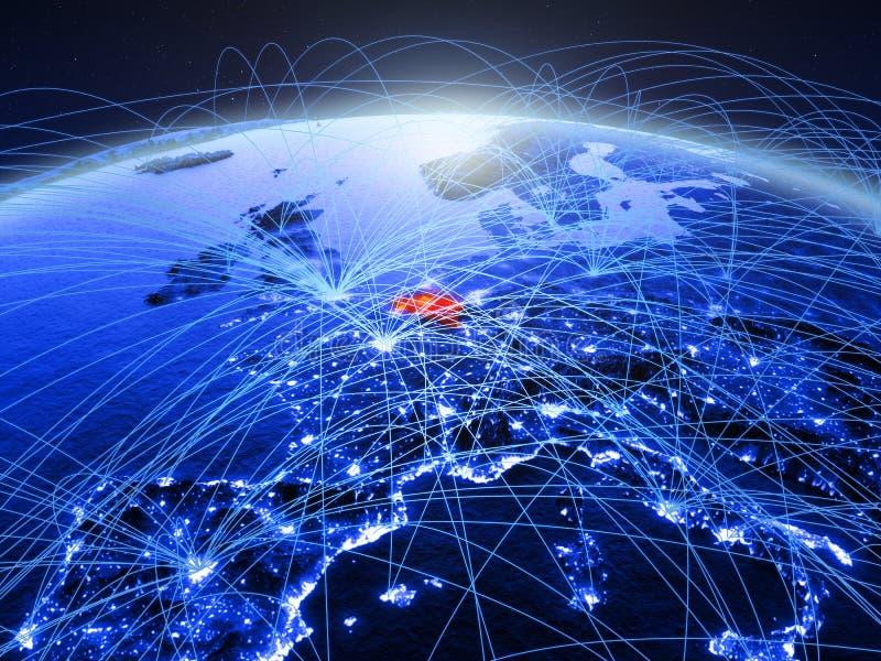 België op blauwe digitale aarde met internationaal netwerk die mededeling, reis en verbindingen vertegenwoordigen 3d royalty-vrije stock afbeeldingen