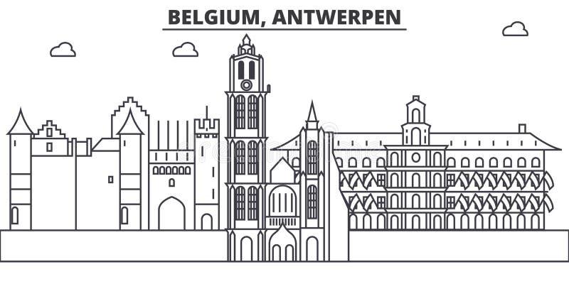 Belgia, Antwerpen architektury linii linii horyzontu ilustracja Liniowy wektorowy pejzaż miejski z sławnymi punktami zwrotnymi, m ilustracji