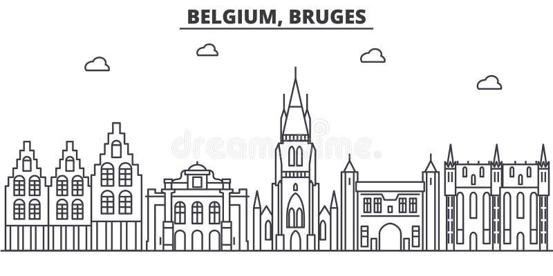 Belgia, Bruges architektury linii linii horyzontu ilustracja Liniowy wektorowy pejzaż miejski z sławnymi punktami zwrotnymi, mias ilustracja wektor