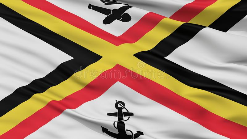 Belgia chorążego flaga zbliżenia Morski widok ilustracja wektor
