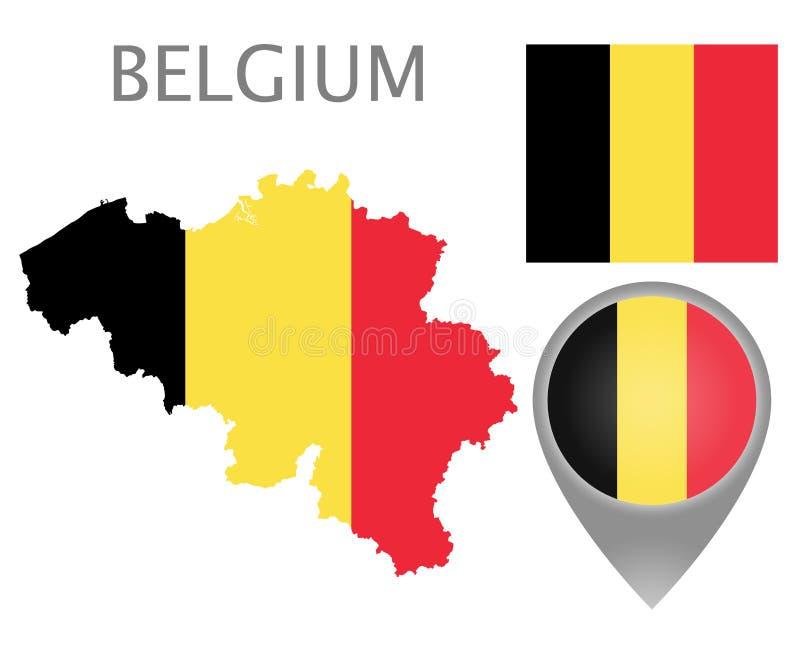 Belgia flaga, mapa i mapa pointer, royalty ilustracja