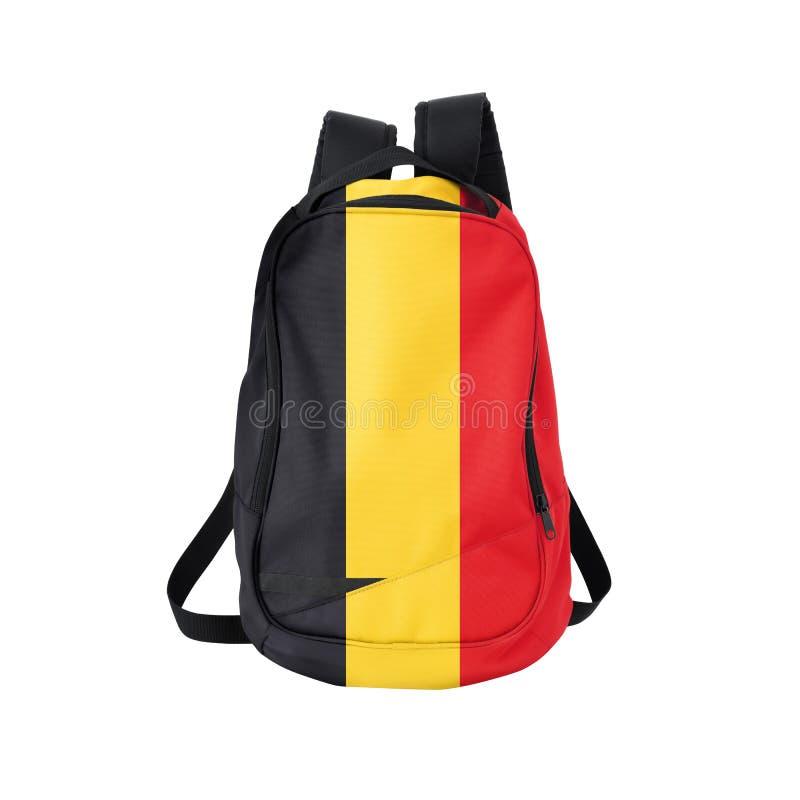 Belgia flaga plecak odizolowywający na bielu zdjęcie stock
