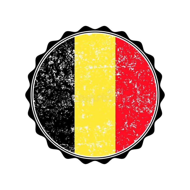 Belgia flaga znaczek z grunge również zwrócić corel ilustracji wektora ilustracja wektor